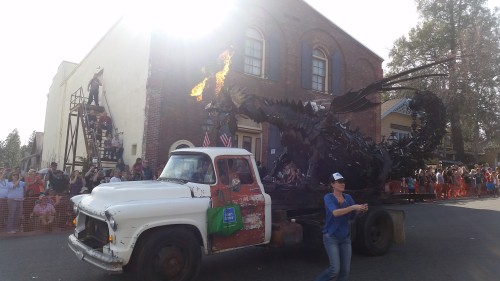 This fire-breathing dragon was the grand finale of the Mardi Gras parade.